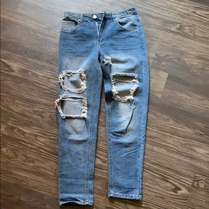 PLT dyed and ripped jeans
